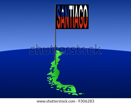map of Chile with position of Santiago marked by flag pole illustration JPG