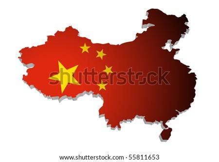 map of china - stock photo
