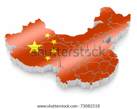 Map of China in Chinese flag colors. 3d - stock photo