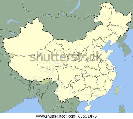 Map China Showing States Borders Major Stock Illustration - 5 major rivers