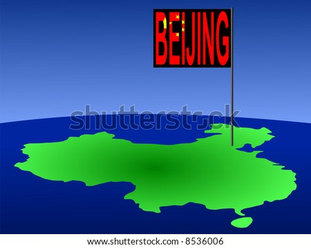 Map of China with Beijing Chinese flag JPG
