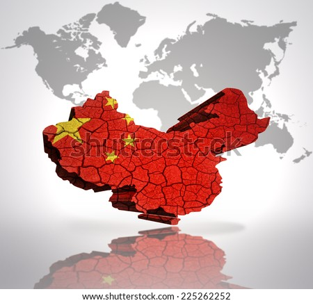 Map of China  with Chinese Flag on a world map background - stock photo