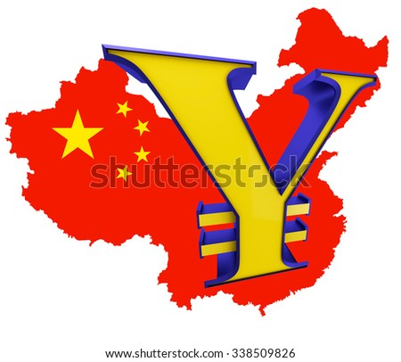 Map of China with national flag and sign of yen - stock photo