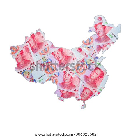 Map of CHINA with RMB currency - stock photo