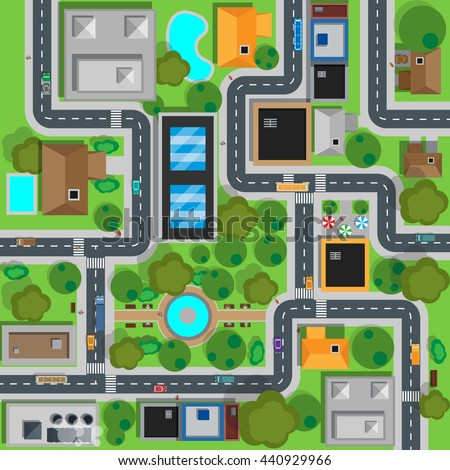 Map of city top view design flat. Map suburban settlement with private houses, narrow roads with cars and natural park design flat. Cars drive on sleeping residential district.  illustration - stock photo