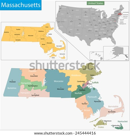 Map of Commonwealth of Massachusetts designed in illustration with the counties and the county seats - stock photo