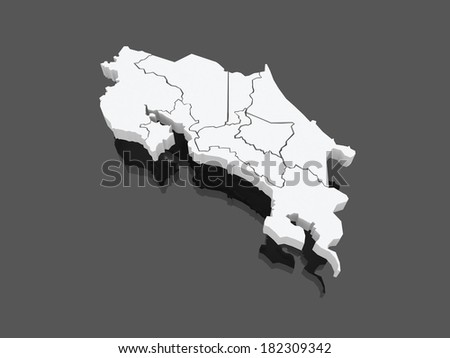 Map of Costa Rica. 3d