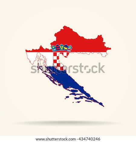Map of Croatia in Croatia flag colors - stock photo
