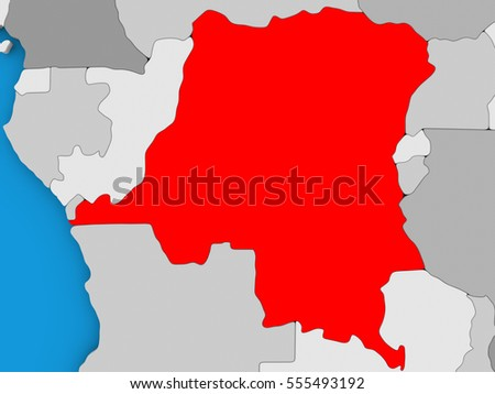 Map of Democratic Republic of Congo on globe highlighted in red. 3D illustration