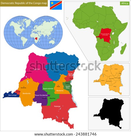 Map of Democratic Republic of the Congo with high detail and accuracy and it is divided into provinces which are colored with different bright colors - stock photo