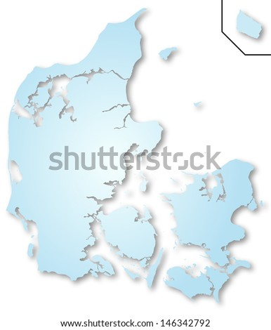 Map of Denmark - stock photo