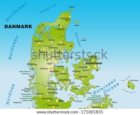 Map Denmark Overview Map Green Stock Illustration 171001835