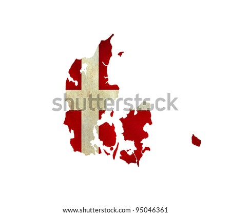 Map of Denmark isolated - stock photo