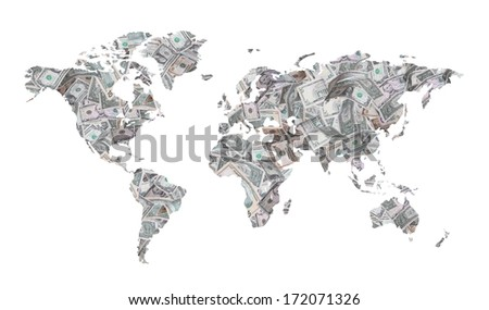 map of dollars - stock photo