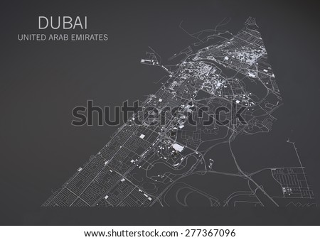 Map of Dubai, United Arab Emirates, satellite view, map in 3d - stock photo