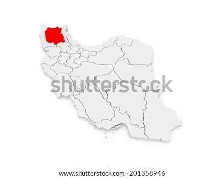 Map of East Azerbaijan. Iran. 3d - stock photo