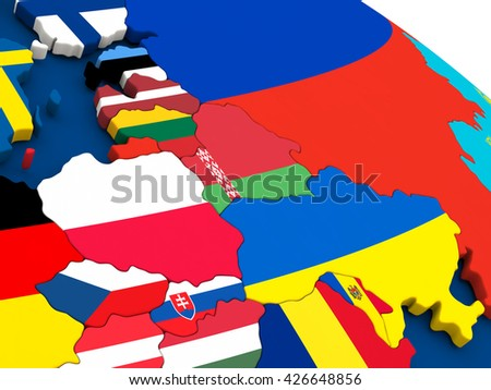 Map of east Europe on globe with embedded flags of countries. 3D illustration. - stock photo
