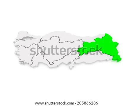 Map of Eastern Anatolia. Turkey. 3d - stock photo