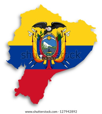 Map of Ecuador filled with flag, isolated - stock photo