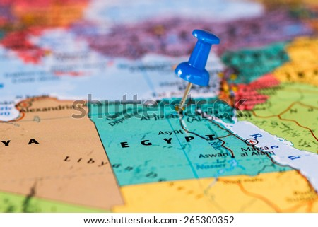 Map of Egypt with a blue pushpin stuck - stock photo