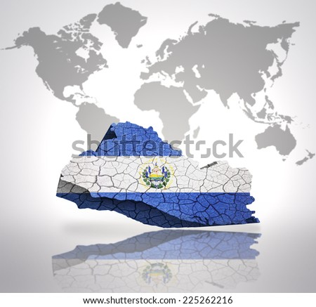 Map of El Salvador with El Salvador Flag on a world map background - stock photo