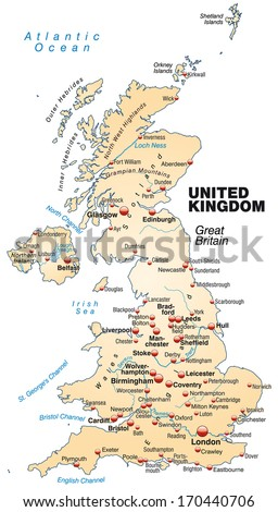 Map of England as an overview map in pastel orange - stock photo