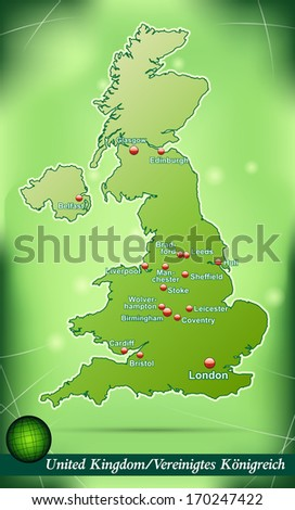 Map of England with abstract background in green - stock photo