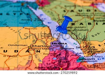 Map of Eritrea with a blue pushpin stuck - stock photo