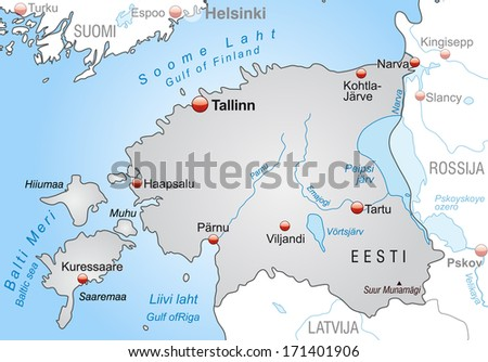 Map of Estonia as an overview map in gray