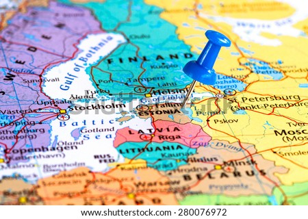 Map of Estonia with a blue pushpin stuck - stock photo