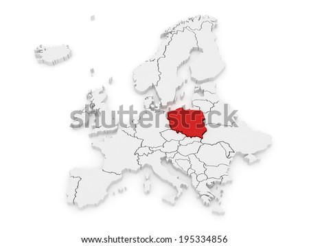 Map of Europe and Poland. 3d - stock photo