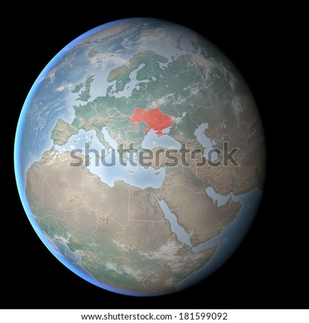 Map of Europe, Asia, Middle East, Crimea and Ukraine, image furnished by NASA - stock photo