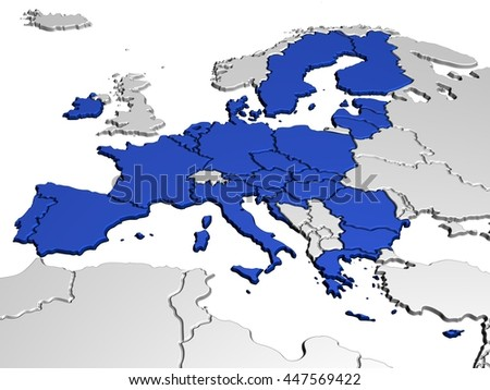 Map of Europe in Blue - stock photo