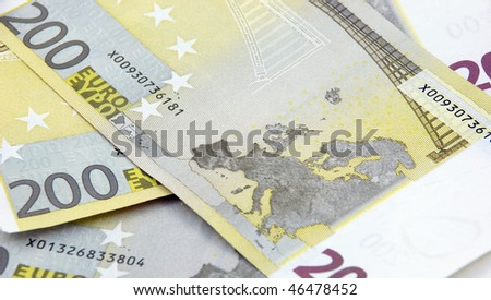 Map of Europe on two hundred euro banknotes - stock photo