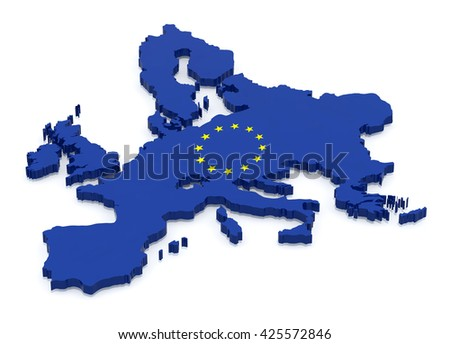 Map of Europe with flag color, 3d illustration isolated on white background - stock photo