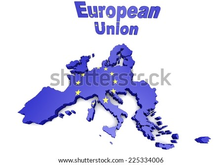 Map of European countries business 3d illustration - stock photo