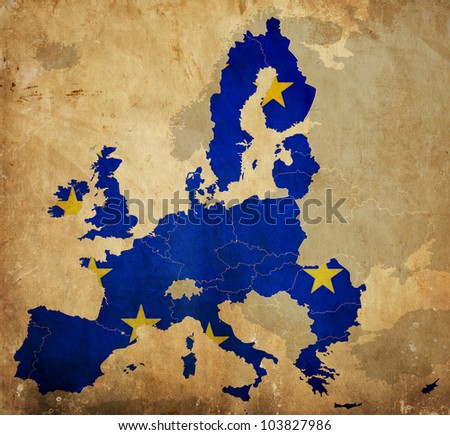 Map of European Union countries on vintage paper - stock photo