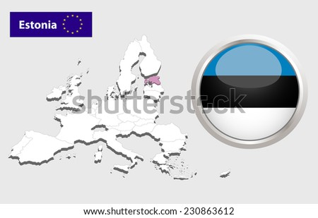 Map of European Union countries, with every state easy selectable and editable. Estonia. Vector - Estonia Flag Glossy Button - stock photo