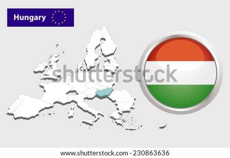 Map of European Union countries, with every state easy selectable and editable. Hungary. Flag Glossy Button Hungary. - stock photo
