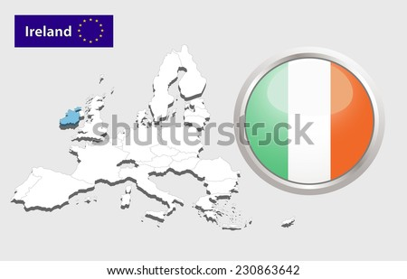 Map of European Union countries, with every state easy selectable and editable. Ireland. - Ireland Flag Glossy Button - stock photo