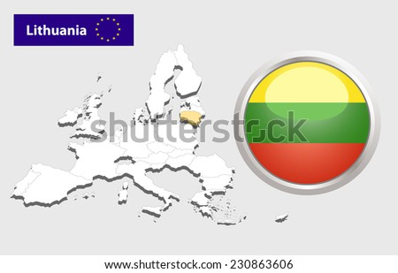 Map of European Union countries, with every state easy selectable and editable. Lithuania. - Lithuania Flag Glossy Button - stock photo