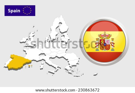 Map of European Union countries, with every state easy selectable and editable. Spain. Flag Glossy Button Spain. - stock photo