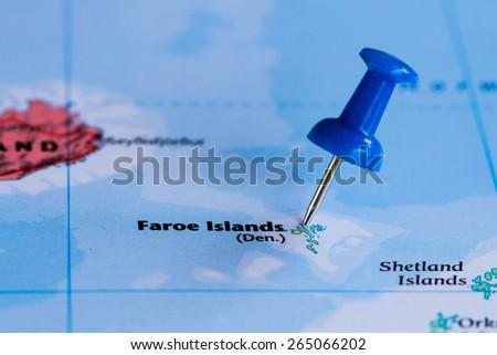 Map of Faroe Islands with a blue pushpin stuck - stock photo