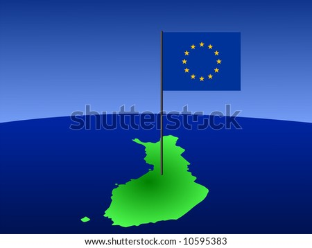 map of Finland and European Union flag on pole illustration JPG