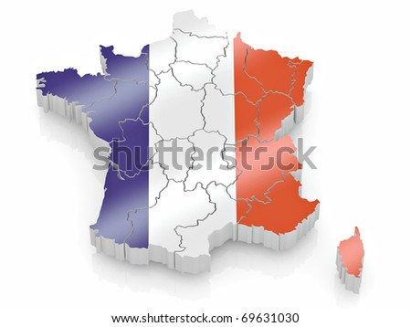 Map of France in French flag colors. 3d - stock photo