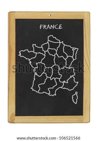 map of france on a chalkboard