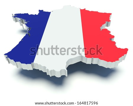 Map of France with flag colors. 3d render illustration. - stock photo