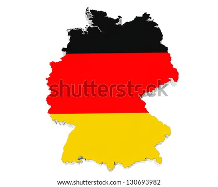 Map of Germany in Germany flag colors on a white background