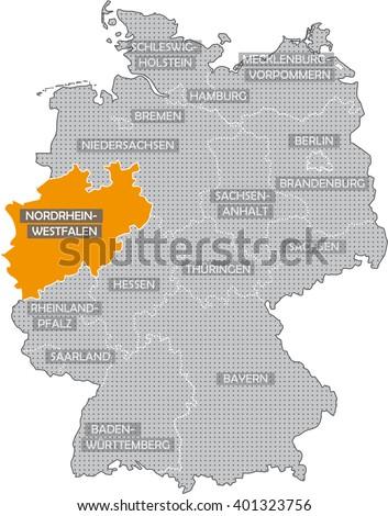 Map of Germany - North Rhine Westphalia - stock photo