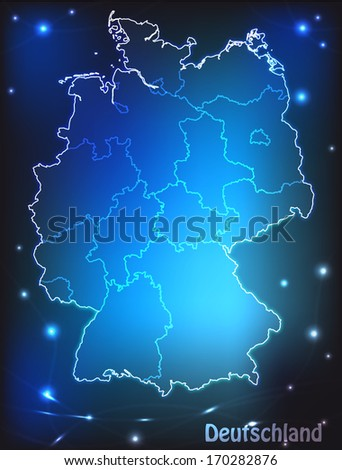 Map of Germany with borders with bright colors